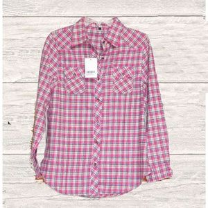 SALE 3 FOR $15  NWT PINK PLAID BUTTON DOWN SHIRT